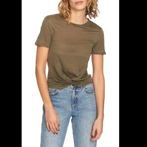 1. State twist front linen top